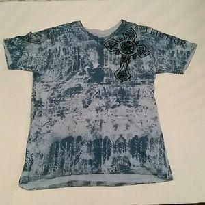 Affliction  men's blue v-neck t-shirt size medium